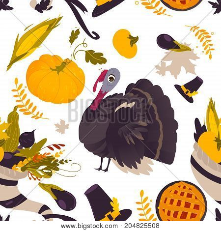 Colorful seamless pattern with thanksgiving symbols - turkey, pumpkin, pilgrim hat, corn, pie, horn of abundance, cartoon vector illustration on white background. Thanksgiving seamless pattern