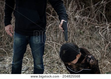 Asian Girl Hostage Threaten By Terrorist Gun