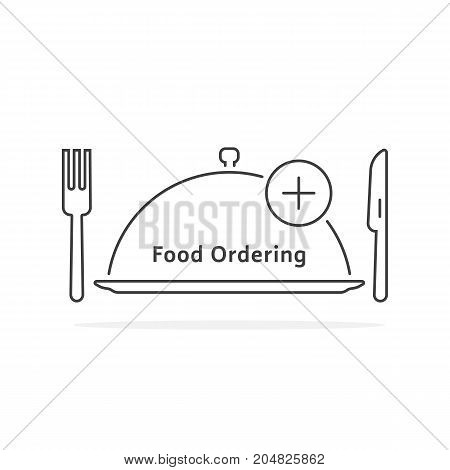 thin line food ordering with tray. concept of gourmet, yummy, promotion, foodie, delicious, healthy cuisine, pizzeria. flat style trend modern logotype design vector illustration on white background