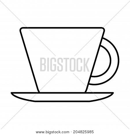porcelain cup on dish in monochrome silhouette vector illustration