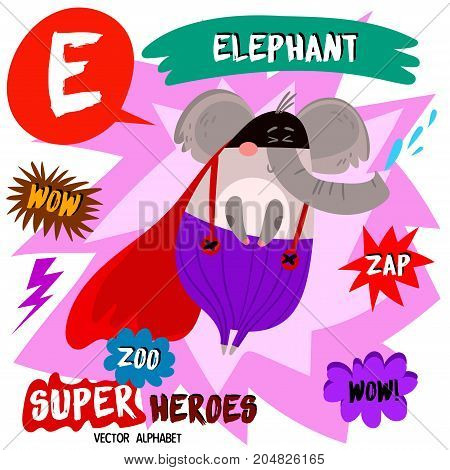 Super Big Set. Cute Vector Zoo Alphabet With Animals In Cartoon Style.letter E-elephant In Superhero
