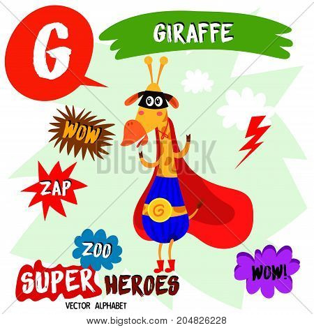 Super Big Set. Cute Vector Zoo Alphabet With Animals In Cartoon Style.letter G-giraffe In Superheroe