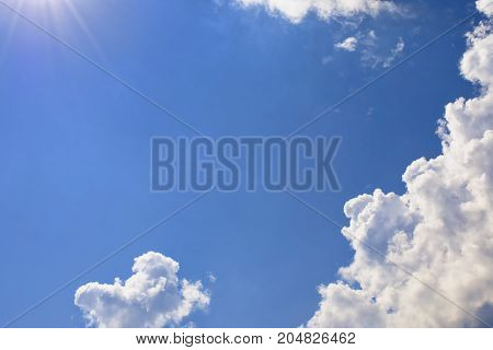 Blue sky sun and clouds. Backdrop for banner card or advertisment