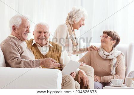Elder Woman Talk With Friend