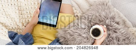 Girl Watching Movie On Tablet
