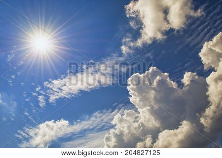 The sun is shining brightly from behind the clouds