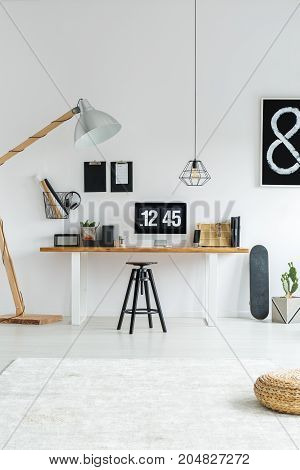 Trendy Workspace With Desk