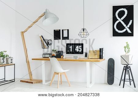 Modern Student's Workspace With Computer