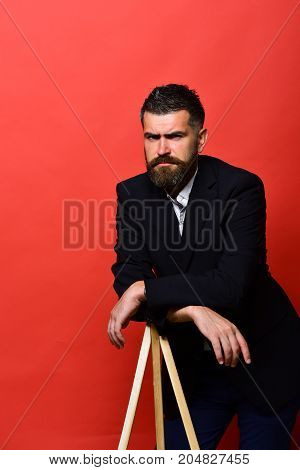 Man With Beard And Moustache Wears Classic Suit