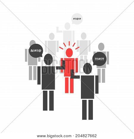 crowd of stick figure insults the victim. concept of quarrel, leader, bad opinion, human right, lynching, guilt, stress, rude. flat style trend modern design vector illustration on white background