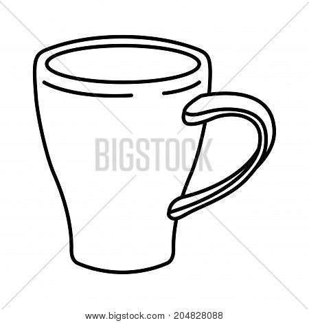porcelain mug of coffee with handle monochrome silhouette vector illustration
