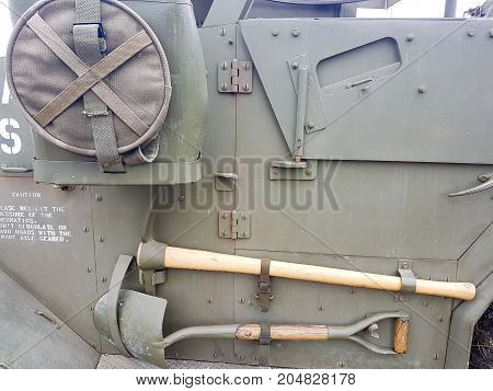 Details Of Ancient Army Tank Shovels And Equipment Stored On Side Of Truck And Running Board