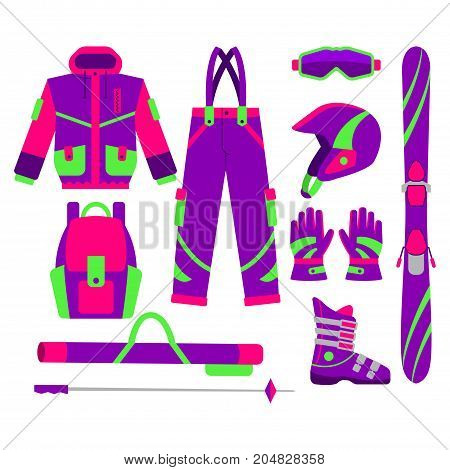 Big set of flat style skiing objects - jacket, pants, boot, goggle, gloves, poles, pole bag, helmet, backpack, vector illustration isolated on white background. Flat vector set of skiing objects