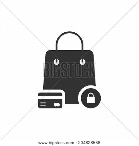 protected shopping with black bag and credit card. concept of e-commerce, currency, wealth, debt, stock, lock, customer. flat style trend modern logo design vector illustration on white background