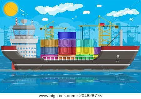 River ocean and sea freight shipping by water. Port crane unloads cargo ship. Background with blue sky, clouds. Pier, dock, harbor. Sea port logistics and delivery. Vector illustration in flat style