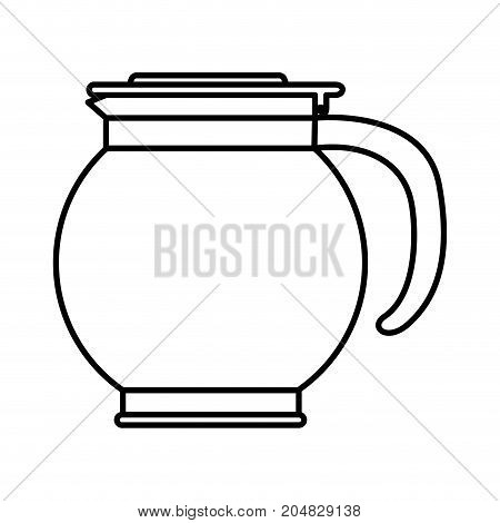 rounded glass jar recipient of coffee monochrome silhouette vector illustration