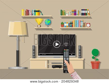 Modern living room interior. Tv on stand. Library wooden book shelf. Globe, lamp, clocks, cactus, cup. Bookcase with different books. Hand with remote control. Vector illustration in flat style