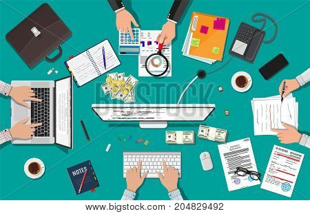 Business meeting and teamwork. Businessman with desktop pc, laptop, calculator, contract financial papers, coffee, pen, notes, briefcase, phone. Barinstrom and work Vector illustration in flat design