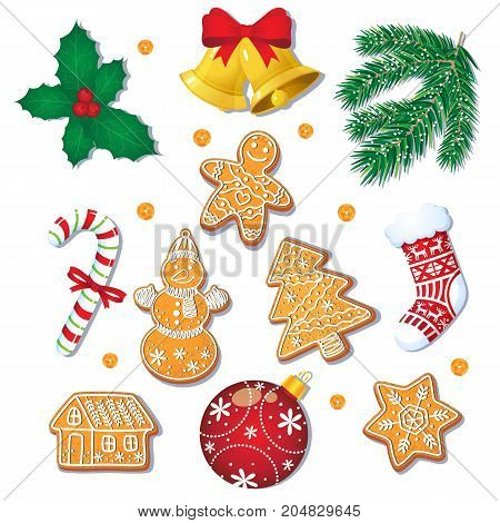 Big set of glazed Christmas gingerbread cookies and decorations, fir tree, mistletoe, candy cane, cartoon vector illustration isolated on white background. Christmas gingerbread cookies, decorations