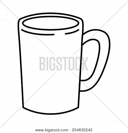 tubular mug of coffee with handle monochrome silhouette vector illustration