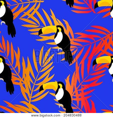Seamless pattern with toucan and palm branches for textiles and wrapping. Vector summer background.