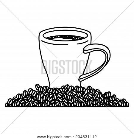 porcelain cup and beans of coffee monochrome silhouette vector illustration
