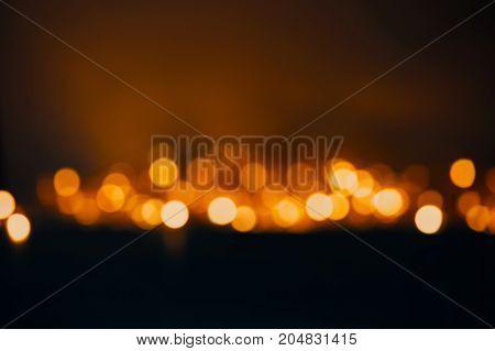 Blured Background, Defocused Lights Of The Garland