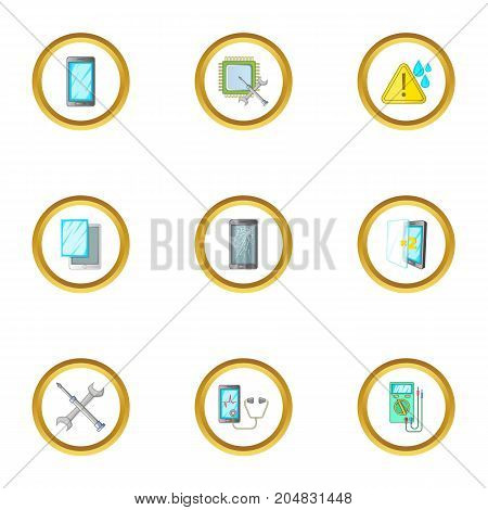 Repair phones fix icons set. Cartoon style set of 9 repair phones fix vector icons for web design
