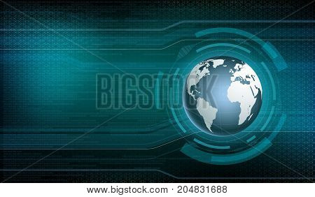 Planet Earth On The Digital Technology Background. User Hud Interface On The Virtual Dashboard. Stoc
