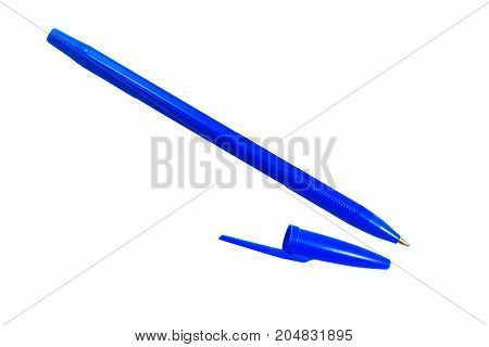 The Blue Pen With The Cover On White Background Isolated