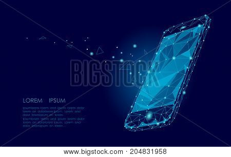 Low poly smartphone mobile touch screen display. Triangle polygonal geometric design connected dots starry sky. Modern futuristic banner template design. Vector illustration background art