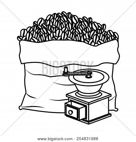 bag of coffee beans and griding with crank monochrome silhouette vector illustration