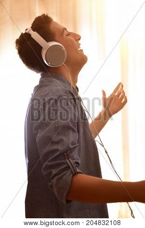 Head Profile Teenager Listening To Music And Dancing At Home