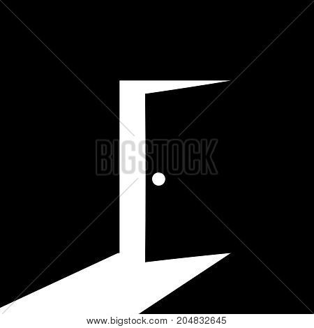 vector door shadow open icon design for light and shade concept