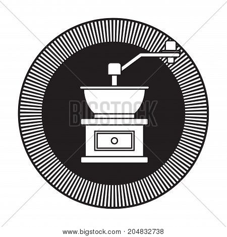 decorative circular logo of coffee grinding with crank black silhouette vector illustration