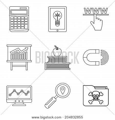 Online library icons set. Outline set of 9 online library vector icons for web isolated on white background