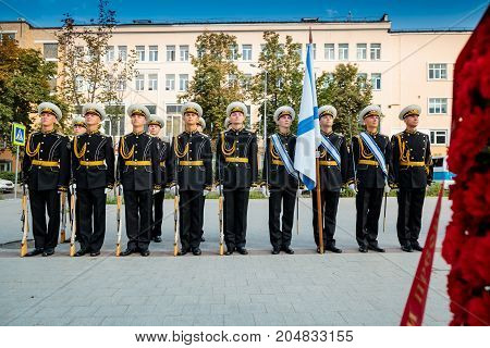 MOSCOW RUSSIA - SEPTEMBER 02 2017: Day of the Russian Guard. The Honor Guard of the 154 Preobrazhensky Regiment in the naval uniform. Preobrazhenskaya Square Moscow.