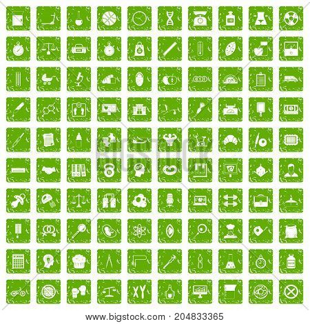 100 libra icons set in grunge style green color isolated on white background vector illustration