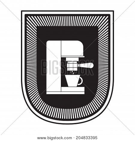 logo badge decorative of coffee espresso machine side view black silhouette vector illustration