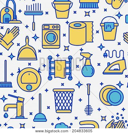 Cleaning service seamless pattern with thin line icons: iron, washer, robot vacuum cleaner, brushes and other accessories for household. Vector illustration for banner, web page, print media.