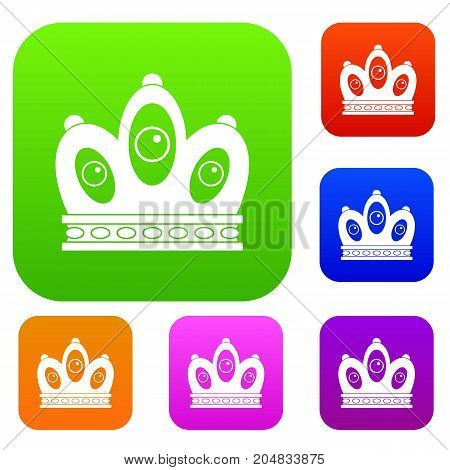 Queen crown set icon color in flat style isolated on white. Collection sings vector illustration