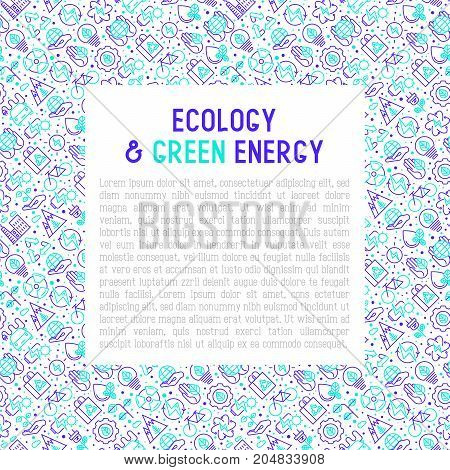 Ecology and green energy concept with thin bicolour line icons for environmental, recycling, renewable energy, nature. Vector illustration for banner, web page, print media.
