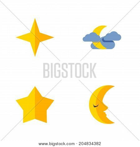Flat Icon Bedtime Set Of Moon, Midnight, Starlet And Other Vector Objects