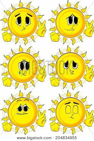 Cartoon sun showing the V sign. Collection with sad faces. Expressions vector set.