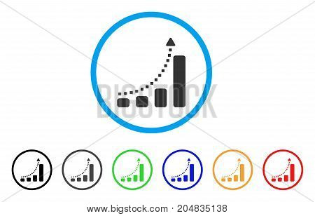 Bar Chart Trend rounded icon. Style is a flat bar chart trend grey symbol inside light blue circle with black, gray, green, blue, red, orange variants. Vector designed for web and software interfaces.