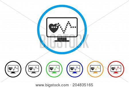 Cardio Monitoring rounded icon. Style is a flat cardio monitoring grey symbol inside light blue circle with black, gray, green, blue, red, orange variants.