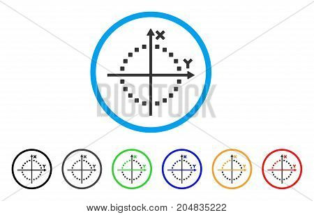 Circle Plot rounded icon. Style is a flat circle plot gray symbol inside light blue circle with black, gray, green, blue, red, orange variants. Vector designed for web and software interfaces.