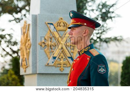 MOSCOW RUSSIA - SEPTEMBER 02 2017: Day of the Russian Guard. The Honor Guard of the 154 Preobrazhensky Regiment. Hour soldier at the monument to soldiers-Preobrazhensky regiment. Preobrazhenskaya Square Moscow.