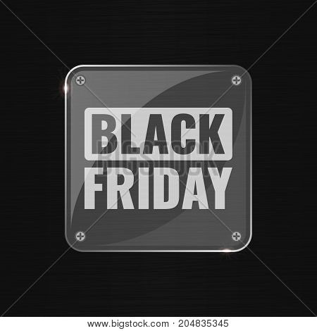 Black Friday sale techno background, online shopping and marketing concept, technology vector illustration with glass transparent plate. Retailing and discount theme. Business flyer, poster template