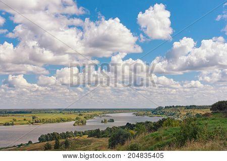 View of Oka river ( Volga tributary ) near Konstantinovo village. Central Russia Ryazan region